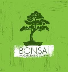 bonsai gardening club creative design vector image