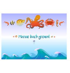 cartoon sea fauna template vector image vector image