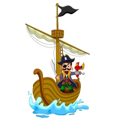 funny pirate cartoon above ship vector image vector image