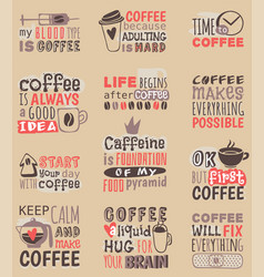 hand drawn coffee restaurant love drink quote vector image vector image