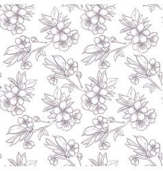 hand drawn sakura seamless pattern vector image