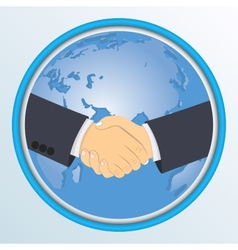 Handshake on the background of globe vector image