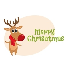 Merry Christmas greeting card template with vector image