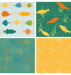 Sea life patterns collection 2 vector image vector image