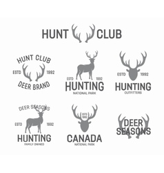 Set of vintage hunting and deer logo and label vector