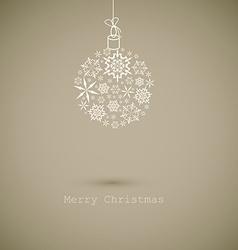 Christmas ball made from gray snowflakes on gray vector image