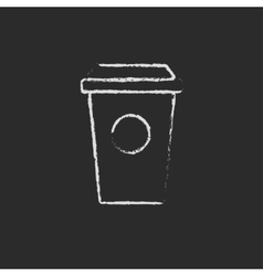 Disposable cup icon drawn in chalk vector image