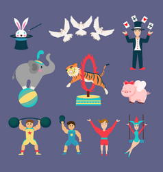 Flat set of circus animals and people vector