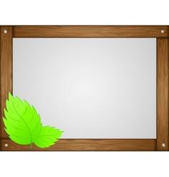 Wooden frame leaves vector image