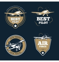 Aircraft and transportation labels Air tourism vector image