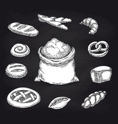 bakery products collection on chalkboard vector image vector image