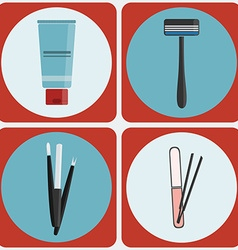Beauty tools colorful icon set vector image
