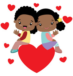 black boy and black girl sitting on a big heart vector image