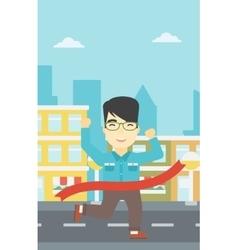 Businessman crossing finish line vector
