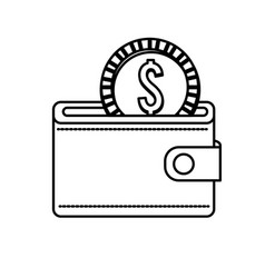Line wallet with coin money inside vector