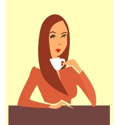 Woman drinking coffee tea vector image vector image