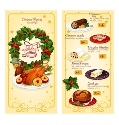 Christmas restaurant menu template design vector