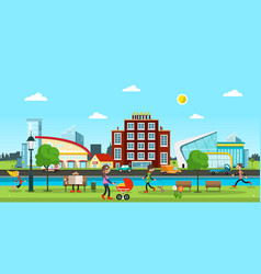 city abstract town with people in park cars on vector image vector image