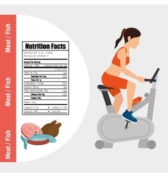 Fitness and healthy food lifestyle vector