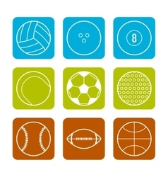 Flat icons sports balls on a Colored background vector image vector image