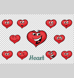 heart valentine emotions characters collection set vector image vector image