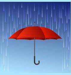 Red umbrella and rain drops vector