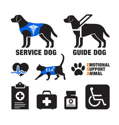 service dogs and emotional support animals emblems vector image
