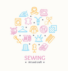 Sewing and needlework tools color round design vector