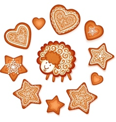 Sweet gingerbread stars hearts and sheep Christmas vector image