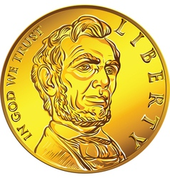 American money one dollar gold coin vector