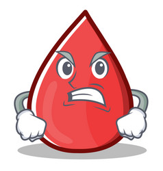 Angry blood drop cartoon mascot character vector