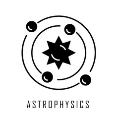 Astrophysics glyph icon astronomy branch study of vector