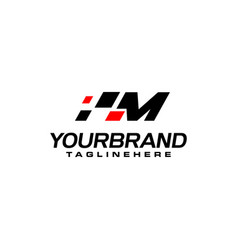 Auto speed letter m with race element logo vector