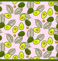Avocado green on pastel pink seamless vector