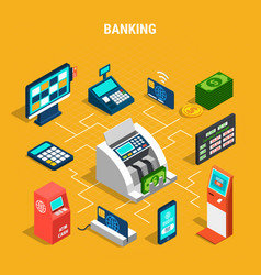 Banking operations isometric flowchart vector