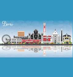 bari italy city skyline with gray buildings blue vector image