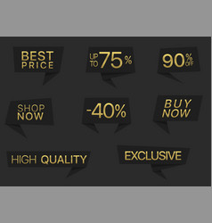 black label set with golden text vector image