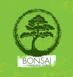 Bonsai gardening club creative design vector
