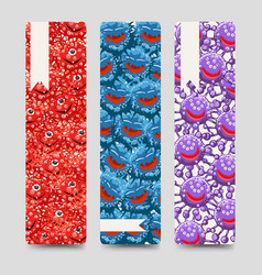 bookmarks collection with colorful microbes vector image