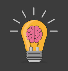 brain idea in flat style stylish on a black vector image