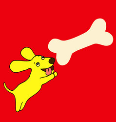 bright little yellow dog a symbol of the new vector image vector image