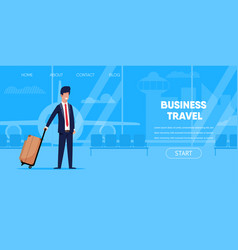 businessman in suit with suitcase airport terminal vector image