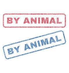 By animal textile stamps vector