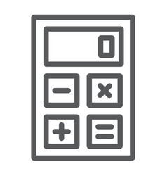 calculator line icon office and work vector image