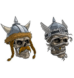 cartoon viking warrior skulls in metal helmet vector image