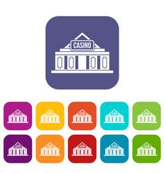 Casino building icons set vector
