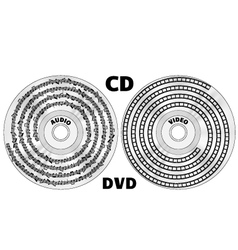 CD or DVD audio and video concept vector image