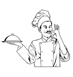 Chef gesture delicious and holding a cloche platte vector