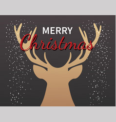 christmas deer greeting card party invitation vector image
