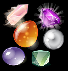 Collection precious stones and minerals vector